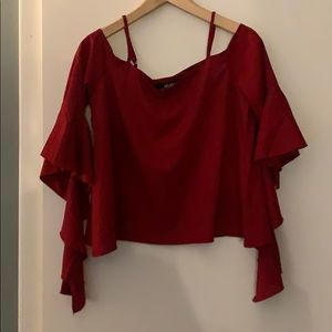 Lulus socialite dark red long sleeve top